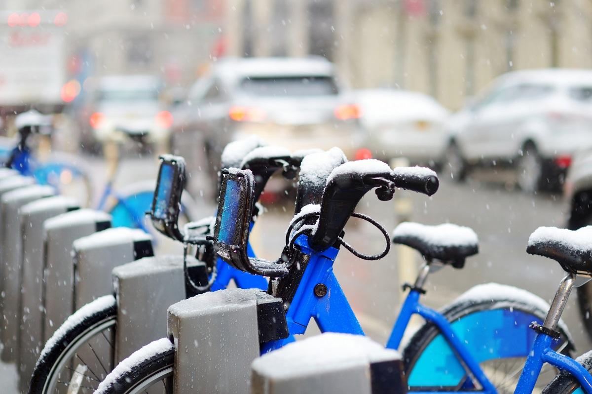 Vélos en ville hiver